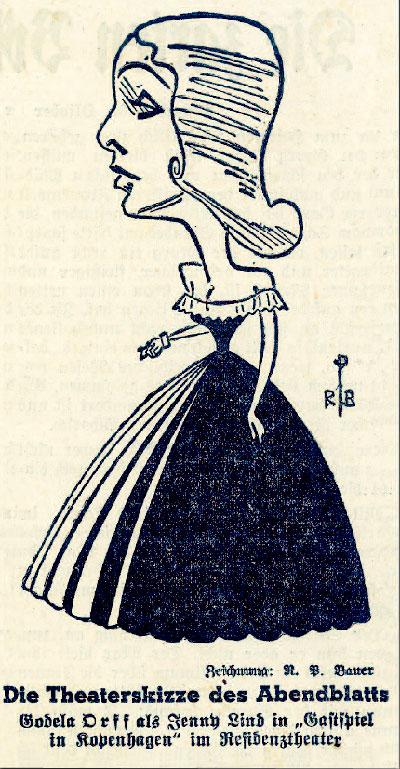 Theaterskizze Godela Orff als Jenny Lind in Gastspiel in Kopenhagen von Friedrich Forster. Theaterskizze Muenchener Abendblatt 1940