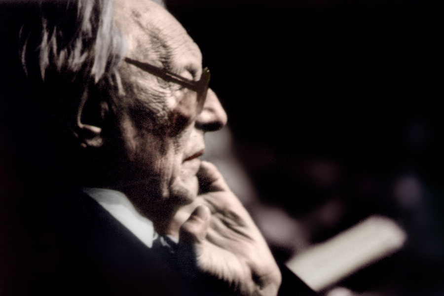 Deeply immersed in his work. This is the last public picture of Carl Orff